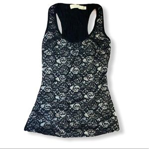 Black and silver floral racer  back tank top XS